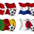 Stock Photo: Soccer team flags group E