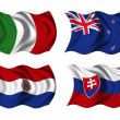 Soccer team flags group F — Stock Photo