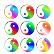 Set of colorful ying and yang symbols — Stock Photo