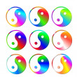Royalty-Free Stock Photo: Set of colorful ying and yang symbols
