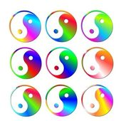 Set of colorful ying and yang symbols — Stockfoto
