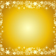 Golden christmas frame with snowflakes — Cтоковый вектор