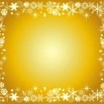 雪のゴールデン クリスマス フレーム — ストックベクタ