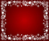 Red christmas frame with snowflakes — Stock Vector