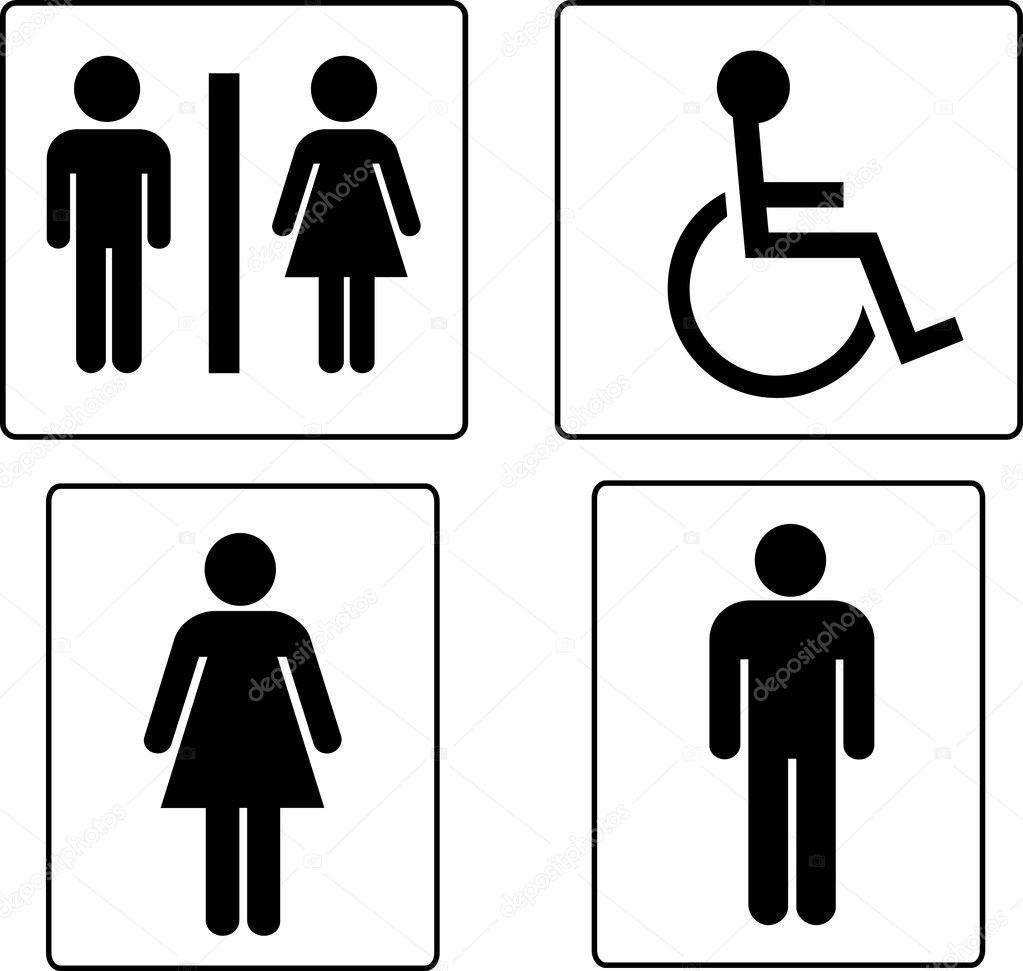 Conjunto de símbolos de banheiro — Vetor de Stock © pdesign #1739529 -> Banheiro Feminino Vetor Free