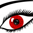 Red Eye with lashes — Stock Photo