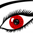 Red Eye with lashes — Stok fotoğraf