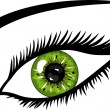 Green Eye with lashes - Stock Photo