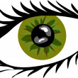 Green Eye with lashes — Foto de Stock