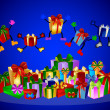 Jumping presents and colorful gift boxes — Stock Photo