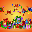 Jumping presents and colorful gift boxes — Stock Photo #1740452