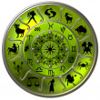 Green Zodiac Disc with Signs and Symbols - Stock Photo