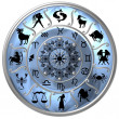 Blue Zodiac Disc with Signs and Symbols - Stock Photo