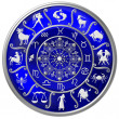 Blue Zodiac Disc with Signs and Symbols — Stok fotoğraf