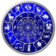 Blue Zodiac Disc with Signs and Symbols — Stockfoto