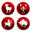 Red zodiac signs - set 2 - Stock Photo
