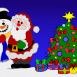 Santa Clause and Snowman - Stock Photo