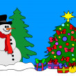 A big Snowman with Christmas Tree - Stock Photo
