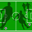 Soccer field with player silhouettes — Foto de Stock