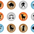 12 colorful zodiac web buttons - Stock Photo