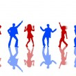 Blue and red Dancing silhouettes — Stock Photo