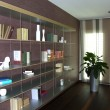 Stock Photo: Bookcase in modern apartment