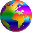 Illustration of a rainbow globe — Stock Photo