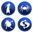 Blue zodiac signs - set 2 - Stock Photo