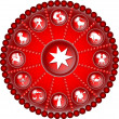 Red zodiac disc - Stock Photo