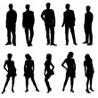 Stock Photo: Young adults silhouettes black white