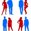 Stock Photo: Young adults couple silhouettes red blue