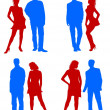 Young adults couple silhouettes red blue — Stock Photo #1743305