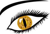 Golden Eye with lashes - animal pupil — Stock Photo