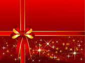 Red Christmas Background with Ribbon — Photo