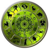 Green Zodiac Disc with Signs and Symbols — Stock Photo