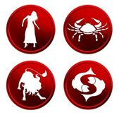 Red zodiac signs - set 1 — Stock Photo
