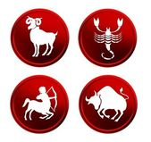 Red zodiac signs - set 2 — Stock Photo