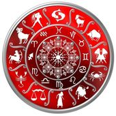 Red Zodiac Disc with Signs and Symbols — Stock Photo