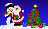 Santa Clause and Snowman — Stock Photo