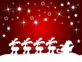 Santa claus silhouette with stars — Stock Photo