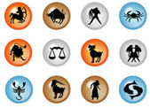 12 colorful zodiac web buttons — Stock Photo