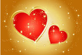 Shining hearts on gold background — Stockfoto