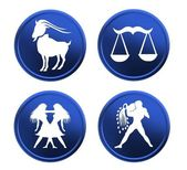 Blue zodiac signs - set 1 — Stock Photo