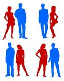 Young adults couple silhouettes red blue — Stock Photo