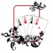 Poker Hand Quad Aces - Stock Photo