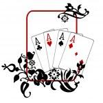 Poker Hand Quad Aces — Stock Photo