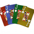 Poker Hand Quads Jacks — Stock Photo