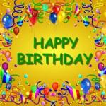 Happy Birthday Baclground yellow — Stock Photo