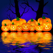 Halloween pumpkins background blue — Stock Photo #1750470