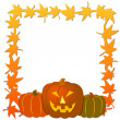 Stock Photo: Halloween Frame with pumpkins